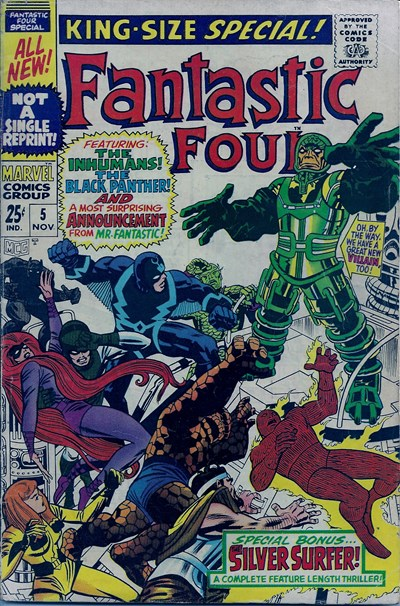 (Marvel) Cover for Fantastic Four #5 First Appearance of Psycho Man, Silver Surfer story.