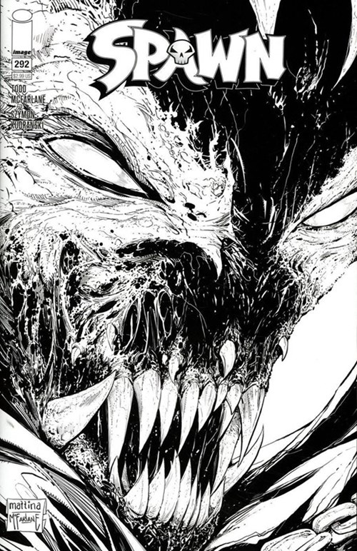 (Image) Cover for Spawn #292 Cover C by Francesco Mattina & Todd McFarlane Black & White Variant Cover