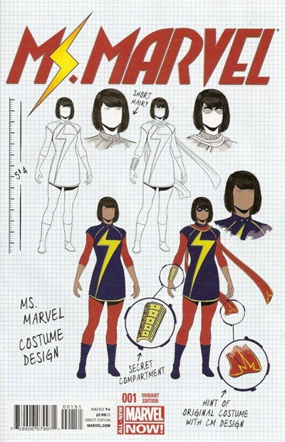 (Marvel) Cover for Ms. Marvel #1 Jamie McKelvie Design Variant Cover