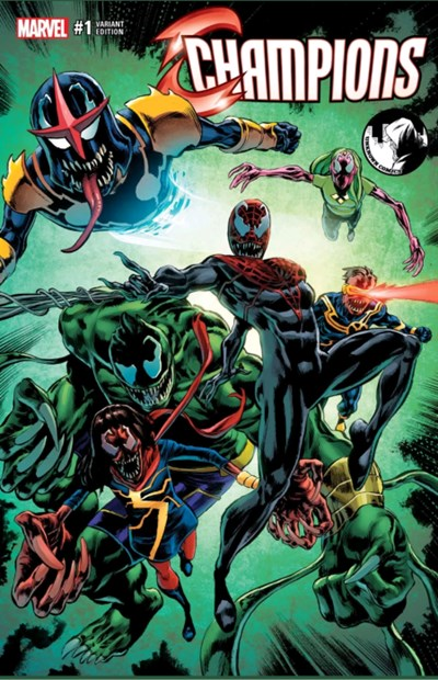 (Marvel) Cover for Champions #1 Unknown Comics Exclusive Mike Perkins Venom Variant Cover. Limited to 3000.