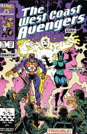 (Marvel) Cover for West Coast Avengers #12 1st Appearance of TROUBLE (Halflife, Quantum & Zzzax), Graviton (Franklin Hall) Appearance