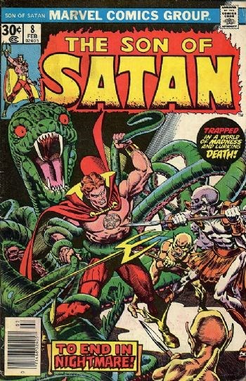 (Marvel) Cover for Son Of Satan #8 1st Appearance of Belial, Original Page #12 Crucifixion Sequence was Rejected by Comic Book Authority Code, Last Issue