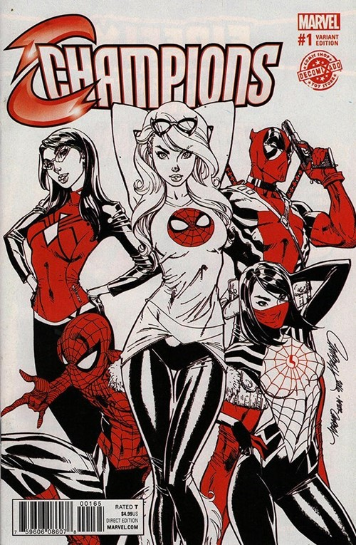 (Marvel) Cover for Champions #1 Decomixado Exclusive Black/White/Red Variant by J Scott Campbell