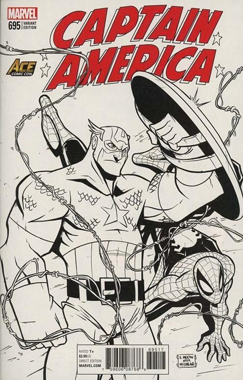 (Marvel) Cover for Captain America #695 Billy Martin ACE Universe Homage Black & White Variant Cover