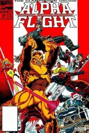 (Marvel) Cover for Alpha Flight #120 10th anniv, vs Hardliners, pin-up, bagged