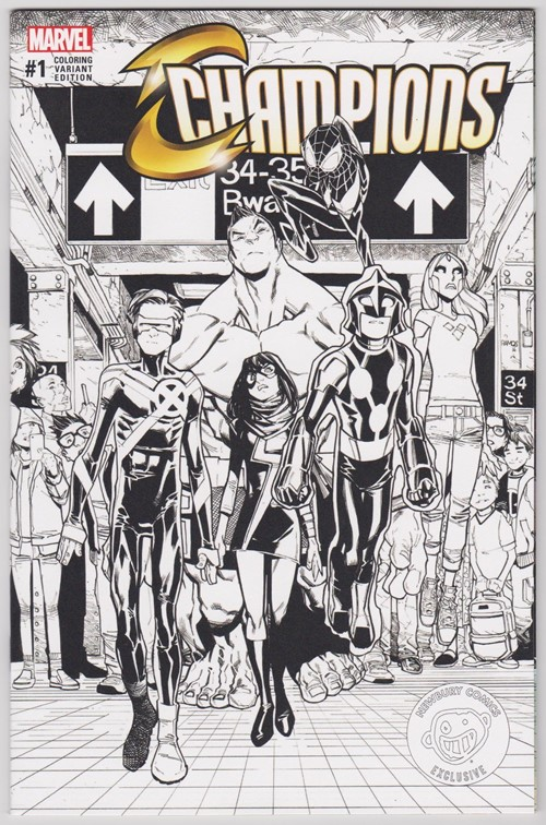 (Marvel) Cover for Champions #1 Humberto Ramos Newbury Comics Coloring Variant Edition