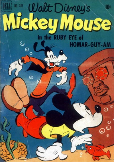 (Dell) Cover for Mickey Mouse #343 The Ruby Eye Of  Homar-Guy-Am
